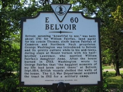 Belvoir Marker image. Click for full size.