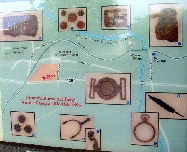 Closeup of Map and Photos of Artifacts on Marker image. Click for full size.