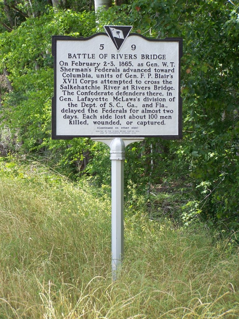 Battle At Rivers Bridge Marker