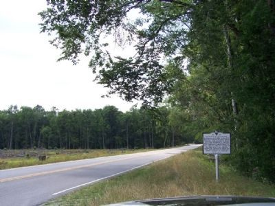 Battle At Rivers Bridge Marker, looking west down Confederate Highway image. Click for full size.