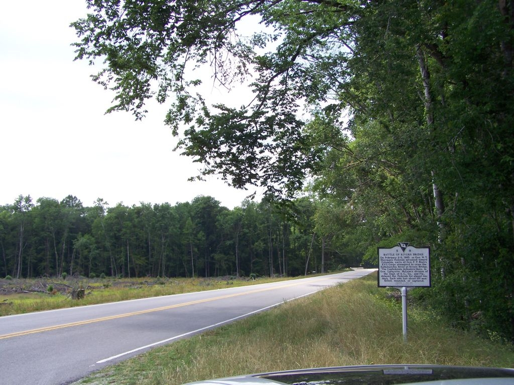 Battle At Rivers Bridge Marker, looking west down Confederate Highway