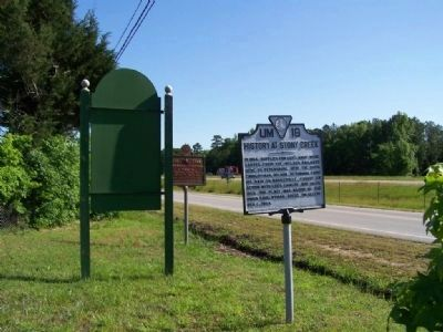 History of Stony Creek Marker looking North on US 301 image. Click for full size.