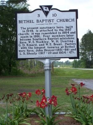 Bethel Baptist Church Marker side 2 image. Click for full size.