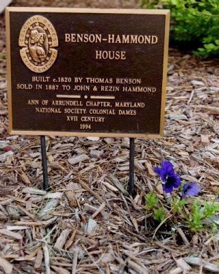 Benson-Hammond House Marker</b> [in Front Yard Garden Bed] image. Click for full size.