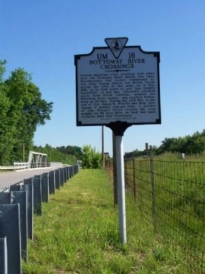 Nottoway River Crossings Marker with bridge , looking north image. Click for full size.