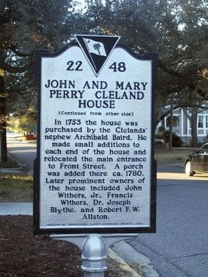 John and Mary Perry Cleland House Marker, Side 2 image. Click for full size.