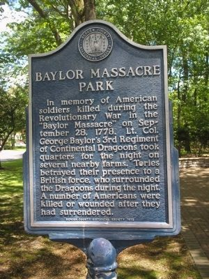 Baylor Massacre Park Marker image. Click for full size.