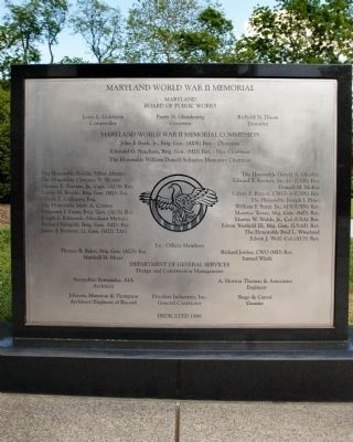 Maryland World War II Memorial Marker image. Click for full size.