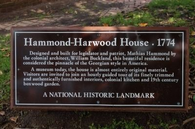 Hammond-Harwood House 1774 Marker image. Click for full size.