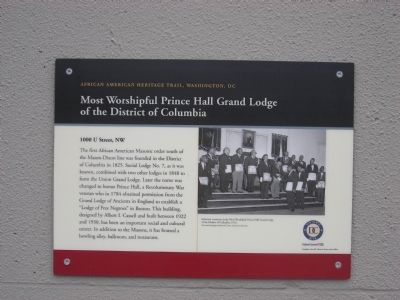 Most Worshipful Prince Hall Grand Lodge of the District of Columbia Marker image. Click for full size.