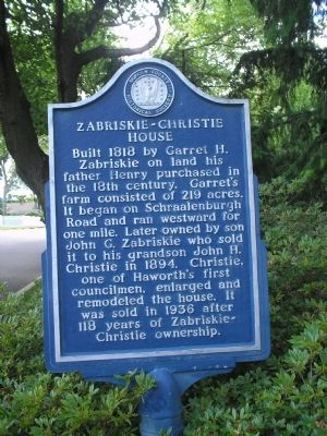 Zabriskie-Christie House Marker image. Click for full size.