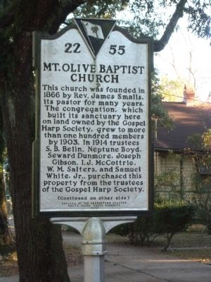 Mount Olive Baptist Church Marker, Side One image. Click for full size.