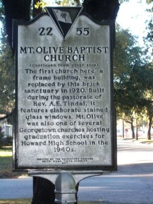 Mount Olive Baptist Church Marker, Side Two image. Click for full size.