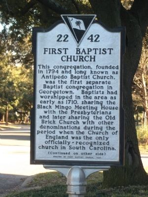 First Baptist Church Marker, Side One image. Click for full size.