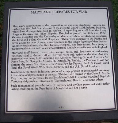 "Maryland WWII Memorial - Marker Panel No, 4 ""Maryland Prepares for War"" image. Click for full size."