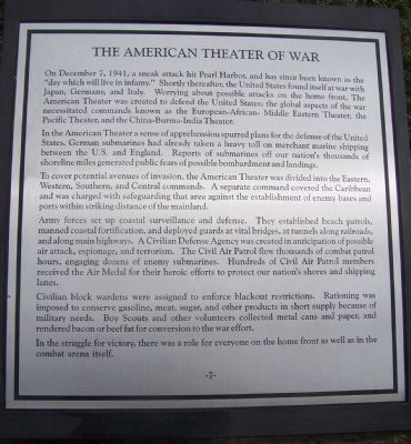 "Maryland WW II Memorial - Marker Panel No. 7 ""The American Theater of War"" image. Click for full size."