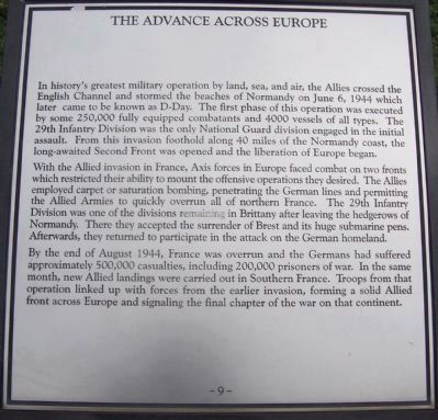"Maryland WW II Memorial - Marker Panel No. 9 ""The Advance Across Europe"" image. Click for full size."