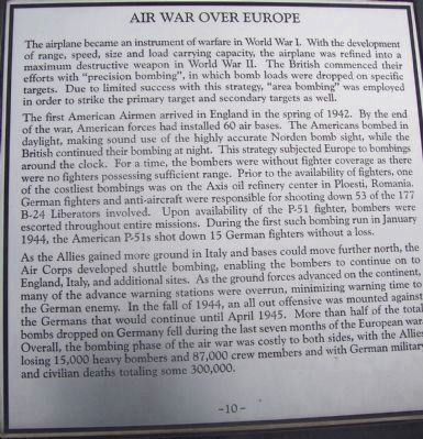 "Maryland WW II Memorial - Marker Panel No. 10 ""Air War over Europe"" image. Click for full size."