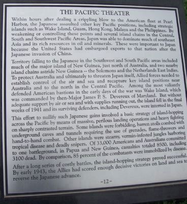 "Maryland WW II Memorial - Marker Panel No. 12 ""The Pacific Theater"" image. Click for full size."