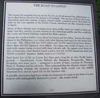 "Maryland WW II Memorial - Marker Panel No. 13 ""The Road to Japan"" image. Click for full size."