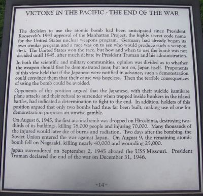"Maryland WWII Memorial - Marker Panel No. 14 ""Victory in the Pacific - The End of the War"" image. Click for full size."
