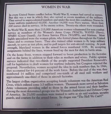 "Maryland WW II Memorial - Marker Panel No. 18 ""Women in War"" image. Click for full size."