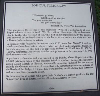 "Maryland WW II Memorial - Marker Panel No. 20 ""For Our Tomorrow"" image. Click for full size."