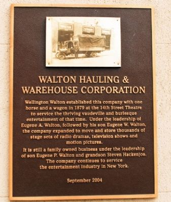 Walton Hauling & Warehouse Corporation Marker image. Click for full size.