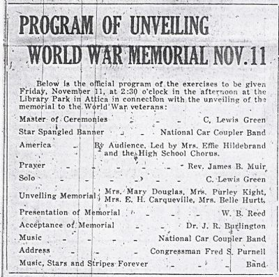 Program of Events image. Click for full size.