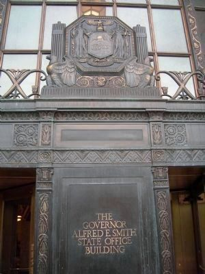 New York State's Coat of Arms on the front of the Governor Alfred E. Smith State Office Building image. Click for full size.