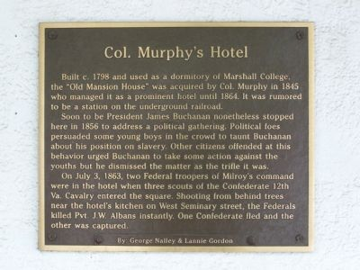 Col. Murphy's Hotel Marker image. Click for full size.