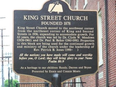 King Street Church Marker image. Click for full size.