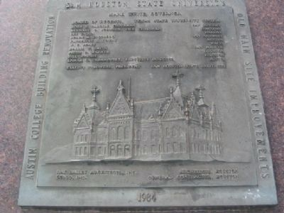 Old Main Memorial marker and time capsule image. Click for full size.