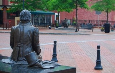 "Poinsett Watching Over the Statue of Vardry McBee and the ""Old Record Building"" Marker image. Click for full size."