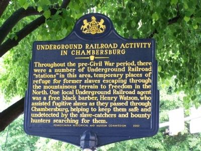 Underground Railroad Activity in Chambersburg Marker image. Click for full size.