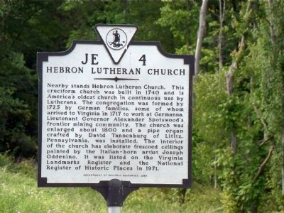 Hebron Lutheran Church Marker image. Click for full size.