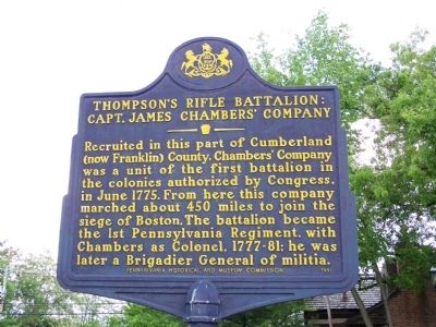 Thompson's Rifle Battalion: Capt. James Chambers' Company Marker image. Click for full size.