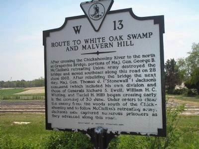 Route to White Oak Swamp and Malvern Hill Marker image. Click for full size.