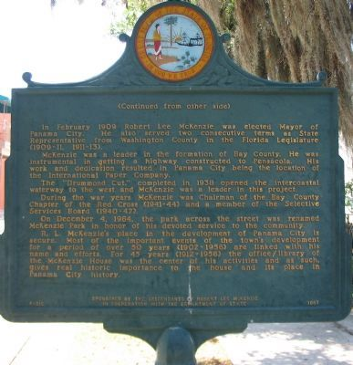 Robert Lee McKenzie's Home and Office Marker, Reverse Side image. Click for full size.