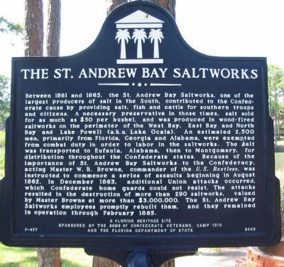 The St. Andrew Bay Saltworks Marker image. Click for full size.