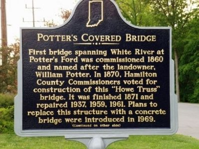 Side one of Potter's Covered Bridge Marker image. Click for full size.