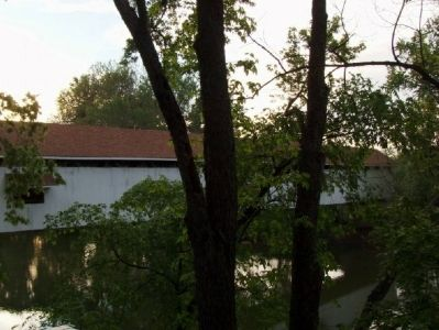 "Side view of Potter's Covered Bridge. Photo was taken from a ""lookout point"" near the playground. image. Click for full size."