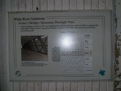Sign inside of Potter's Covered Bridge, describing the trusses used through the years. image. Click for full size.