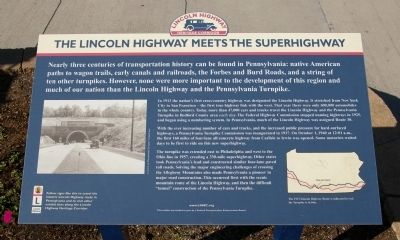 The Lincoln Highway Meets the Superhighway Marker image. Click for full size.