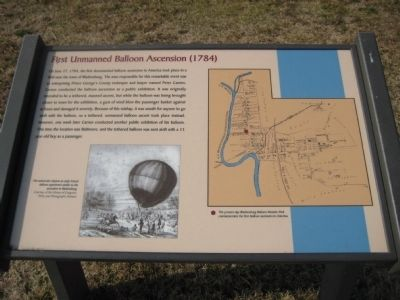 First Unmanned Balloon Ascension (1784) Marker image. Click for full size.
