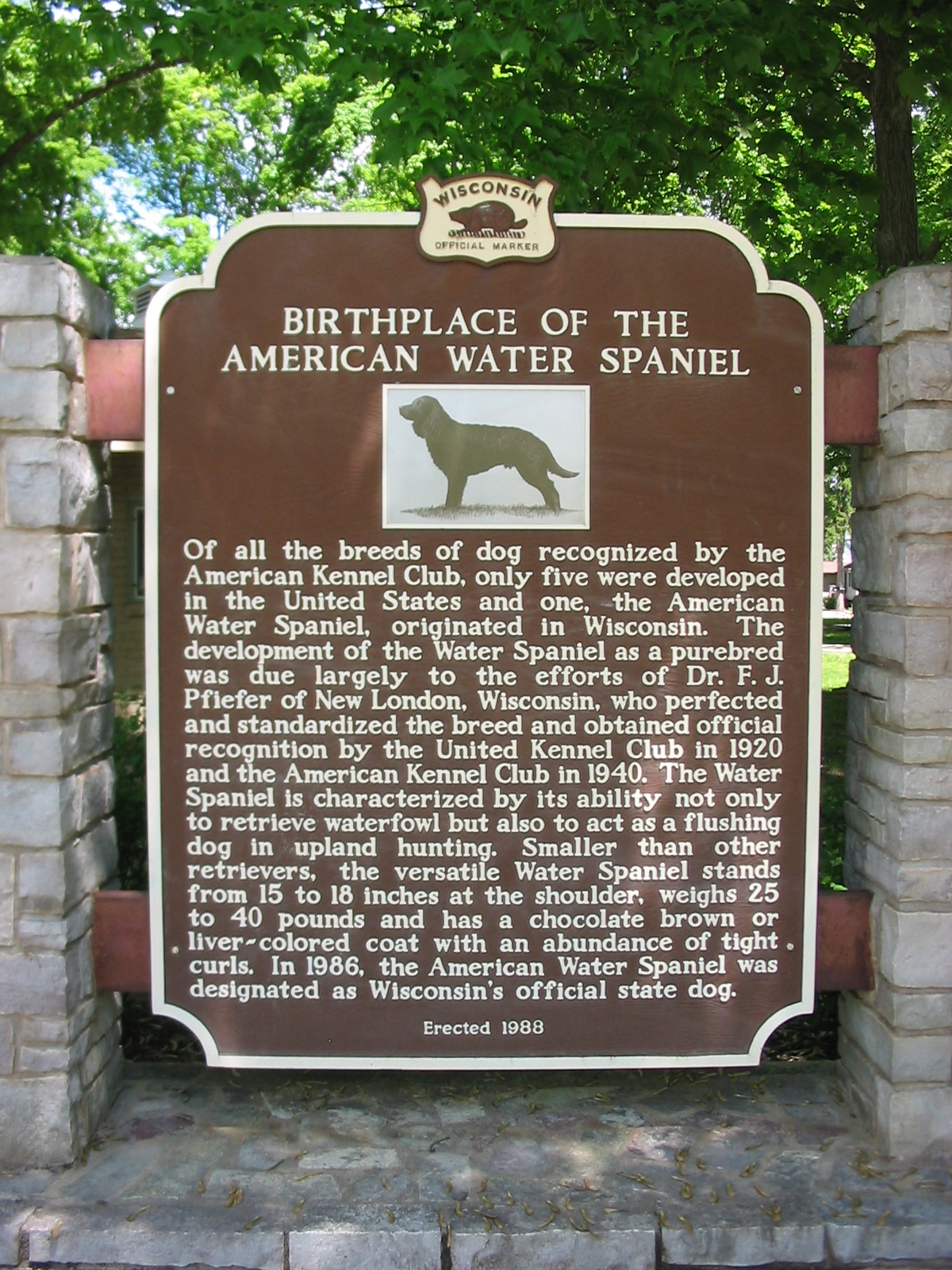 Birthplace of the American Water Spaniel Marker
