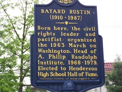 Bayard Rustin Marker image. Click for full size.