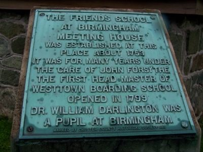 The Friends School at Birmingham Meeting House Marker image. Click for full size.