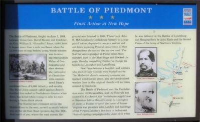 Battle of Piedmont Marker image. Click for full size.