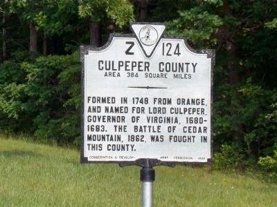Culpeper County Face of Marker image. Click for full size.
